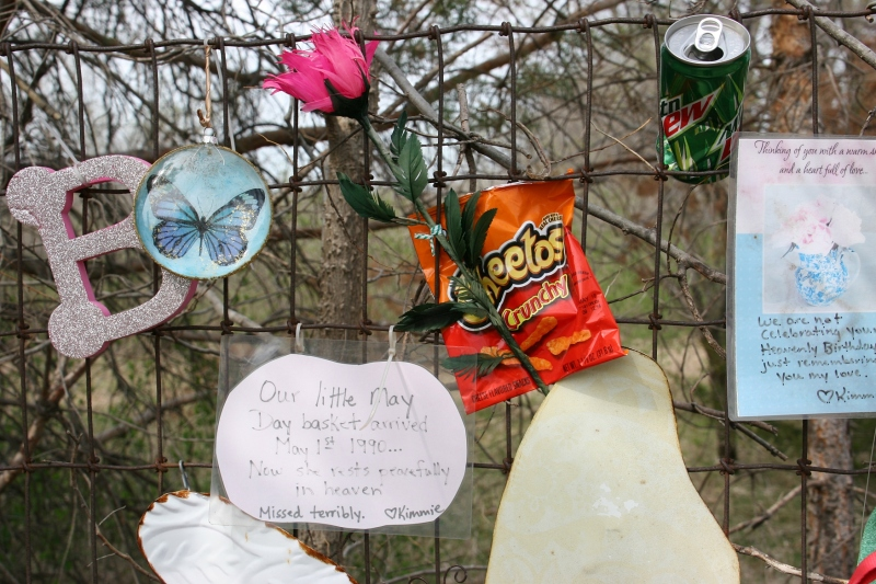 Items attached to a fence  reveal more about Brittney.
