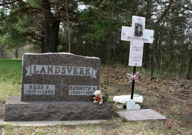 Brittney's memorial is next to her grandparents' grave.