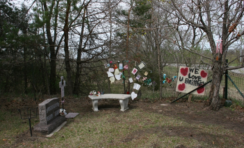 The memorial to Brittney Landsverk.