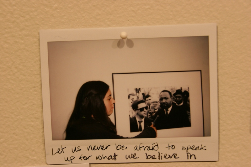 """Visitors to the """"Selma to Montgomery: Marching Along the Voting Rights Trail"""" exhibit at St. Olaf College let their voices be heard."""