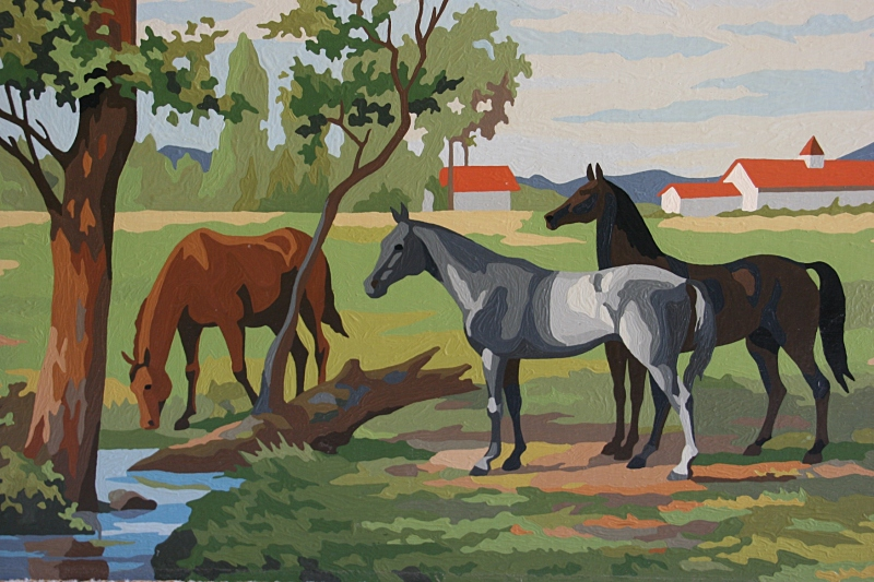 I purchased this stunning 24-inch x 18-inch paint-by-number painting for a song last fall at a Wisconsin second-hand/collectible/antique shop. The scene reminds me of the Kentucky Derby. Interestingly enough, on the official Derby website store, paint-by-number horse paintings are available for purchase.