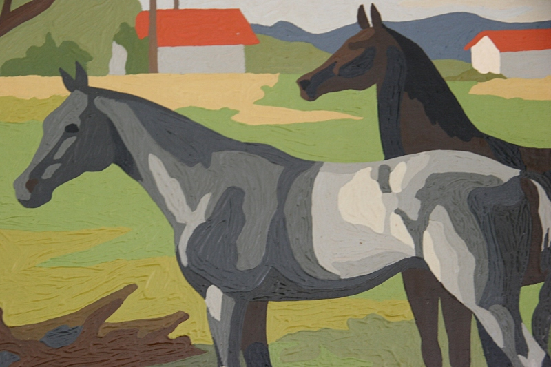 My vintage paint-by-number horse painting up close.