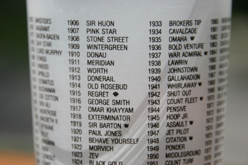 Names of past Derby winners are listed on a commemorative drinking glass gifted to me by my friend Beth Ann.