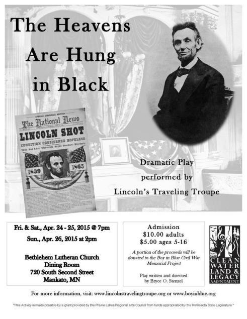 A poster promoting the upcoming Lincoln's Traveling Troupe performance.