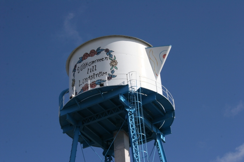 The town's 1908 water tower, converted to a Swedish coffee pot in 1992, sports umlauts.