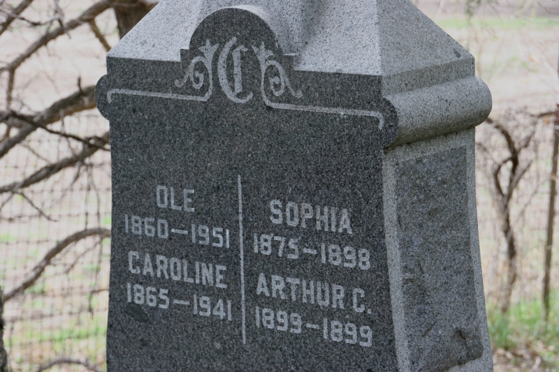 Ole Christiansen, who lived to age 91, came from Norway. His first wife, Sophia Swenson, died. He then married Caroline.