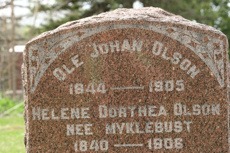 The Norwegian name, Ole, is common on North Grove tombstones.