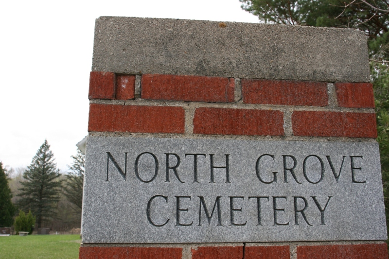 A marker at the entry to North Grove Church and Cemetery in Cannon City Township, rural Rice County, Minnesota.