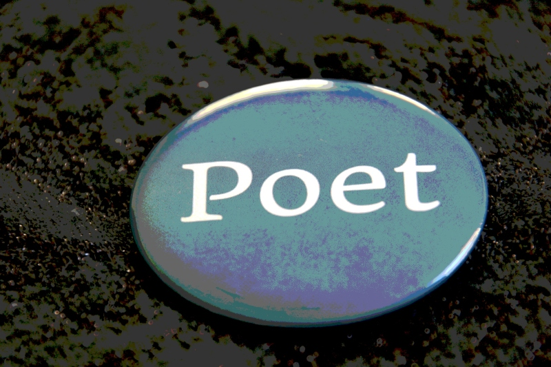 I took poetic license and photoshopped this image of the button I wore identifying me as a poet at the Poetry Bash.