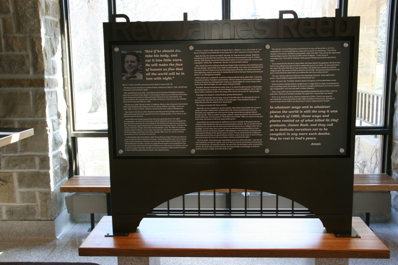 The memorial honoring the Rev. James Reeb was dedicated in March, on the 50th anniversary of his death.
