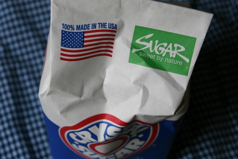 The American flag on a bag of  Crystal Sugar.