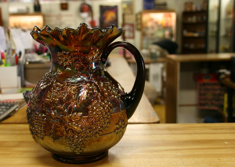 Even collectible glassware is art, including this Carnival glass pitcher at Collectors Wonderland.