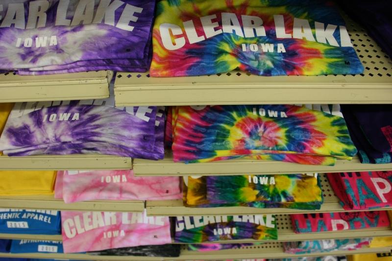 Shelves and shelves of Clear Lake apparel fill shelves at Larson's Mercantile.