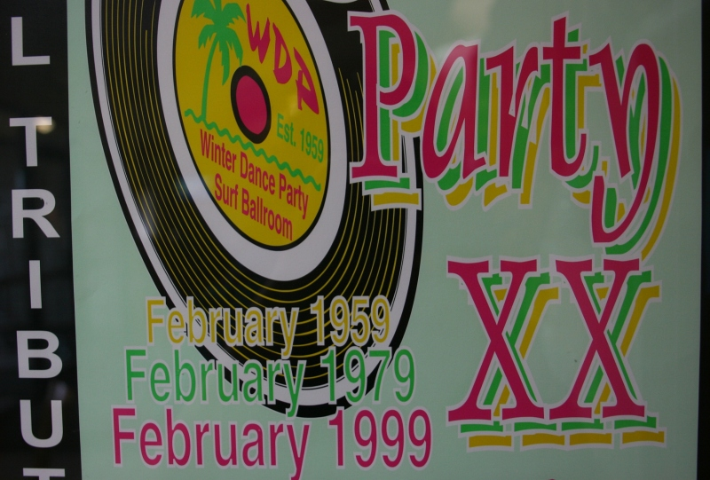 All around town you'll see posters from the annual Winter Dance Party at the Surf Ballroom. I found this one at the AmericInn Hotel.