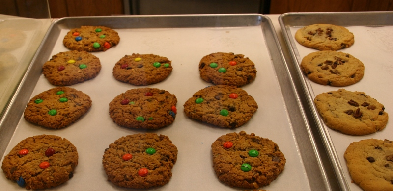 All of the cookies sold at Cookies, etc. are made from scratch using secret family recipes, divulged to only a few select employees. Monster cookies are the top seller.