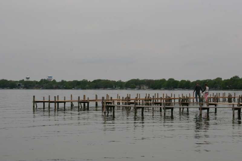 The lake draws visitors here. A park, boat launch, beach and dock are located at the end of Main Avenue.
