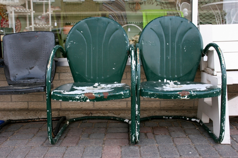 Vintage lawn chairs for sale seem ideal for a local lake home or cabin.