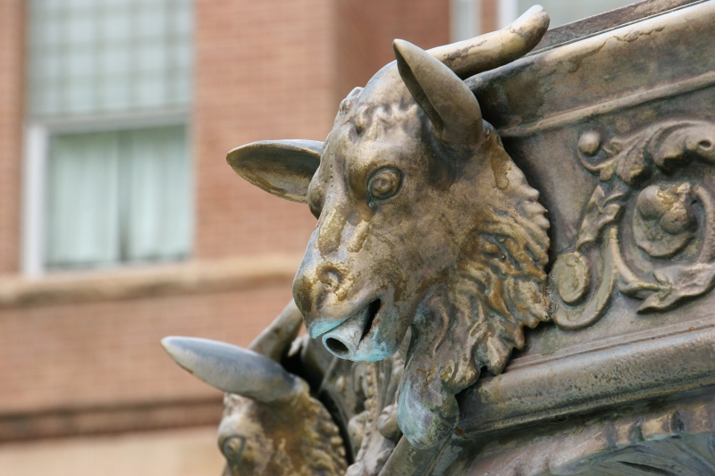 The fountain atop which the Union soldier stands was also built by J. L. Mott Iron Works. It is of French Victorian design. The goat head symbolizes strength and victory.