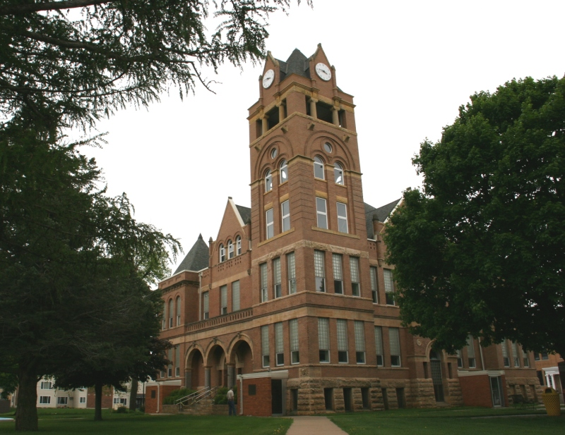 The courthouse was built in 1897 for $20,496. A south wing was added later.
