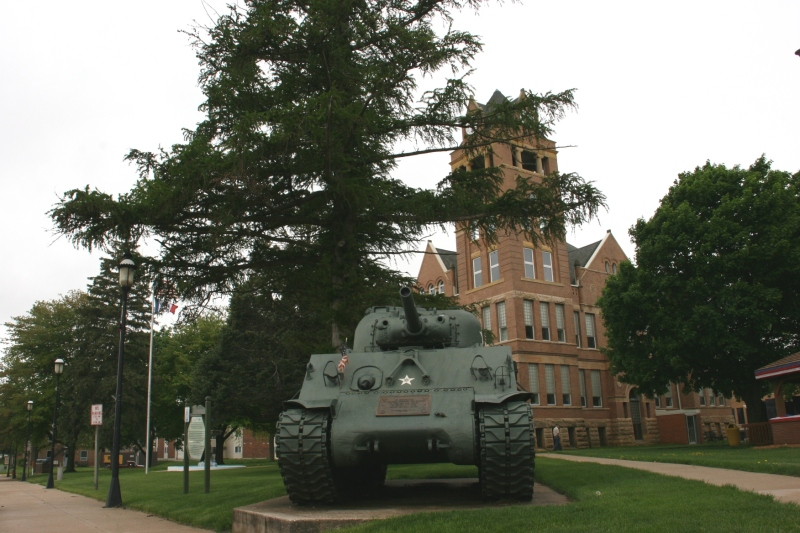 The vintage Sherman tank.