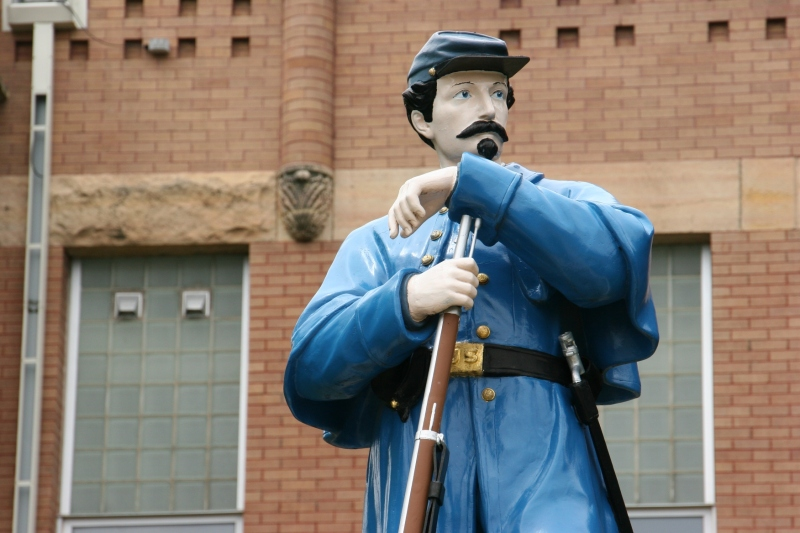 The Union Soldier was constructed from zinc by J. L. Mott Iron Works of Trenton, New Jersey, at a cost of $155.