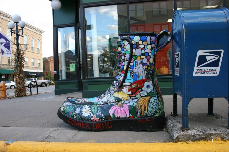 Boot sculptures scattered throughout the downtown honor Red Wing shoes.