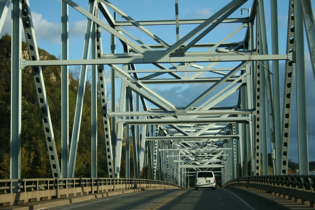 Crossing the Mississippi River bridge from Wisconsin into Red Wing, Minnesota.