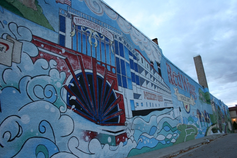 This sprawling downtown mural honors Red Wing's location on the Mississippi River.