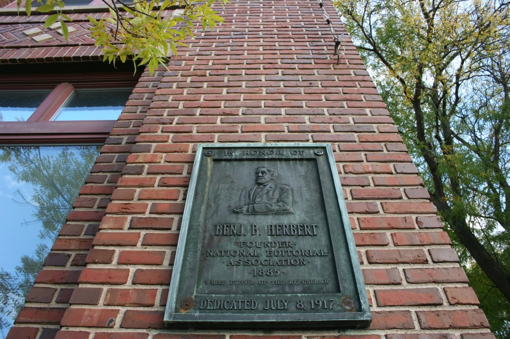 This plaque honors Benjamin Briggs Herbert, a Red Wing newspaper editor who started the National Newspaper Association, conceiving of the idea in 1882. The association serves as the voice and vehicle of grassroots journalism.