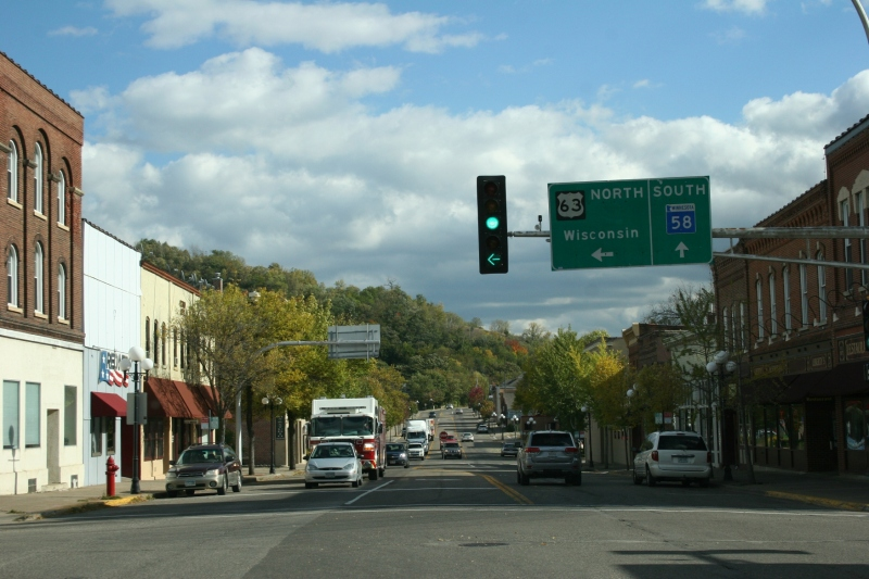 Driving through historic downtown Red Wing.
