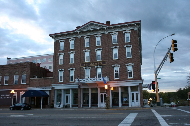 The historic St. James Hotel is a popular dining and overnight destination.