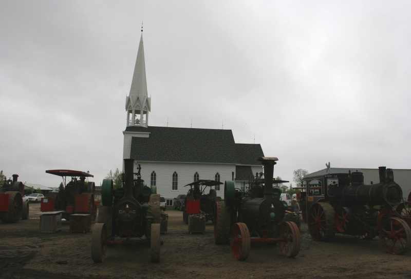 A sampling of steam engine tractors were lined up across the road from the historic church.