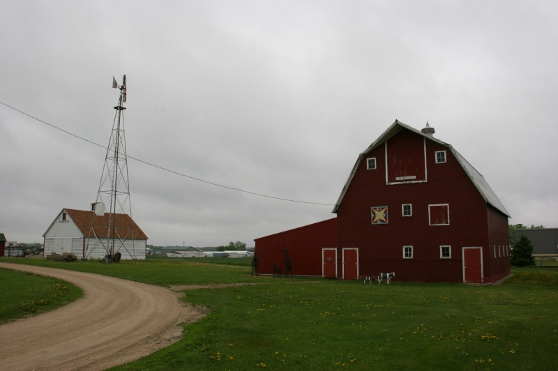 A rural heritage park would not be complete without a barn and windmill.