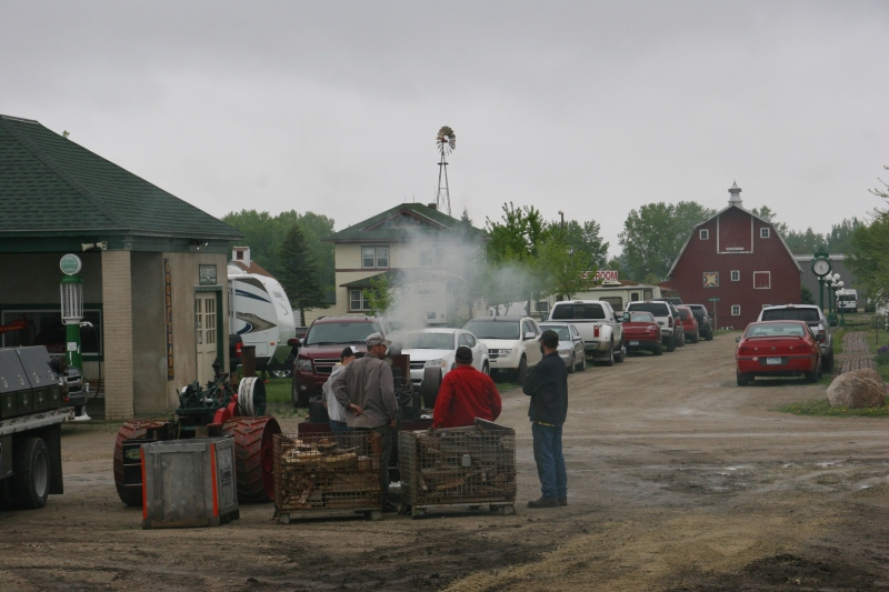 Steam engine enthusiasts await instruction during Steam Engineer School at Heritage Park in Forest City, Iowa.