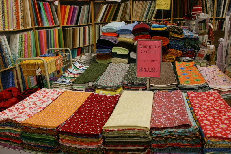 Larson's Mercantile, like an old-fashioned five-and-dime, has a back corner devoted to fabric.