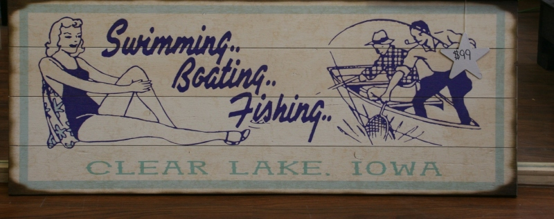 This art, photographed at J Avenue, a shop located on Main Avenue, summarizes lake activities.