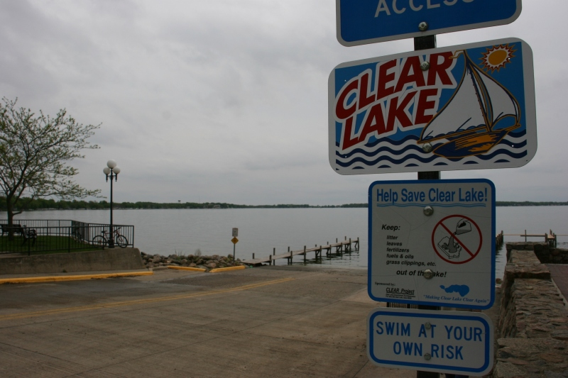 A view of Clear Lake from the public boat landing at the end of Main Avenue.