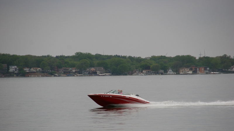 The single boat I spotted speeding across the lake Friday afternoon.