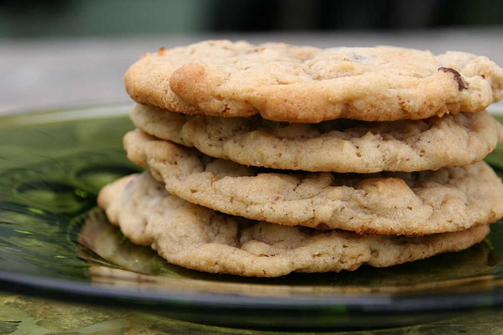 Four homemade chocolate chip cookies were tucked inside the second May Day basket.