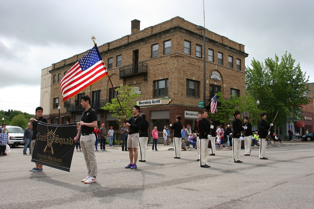 The Shattuck-St. Mary's Crack Squad always marches in the parade and always fires their guns.