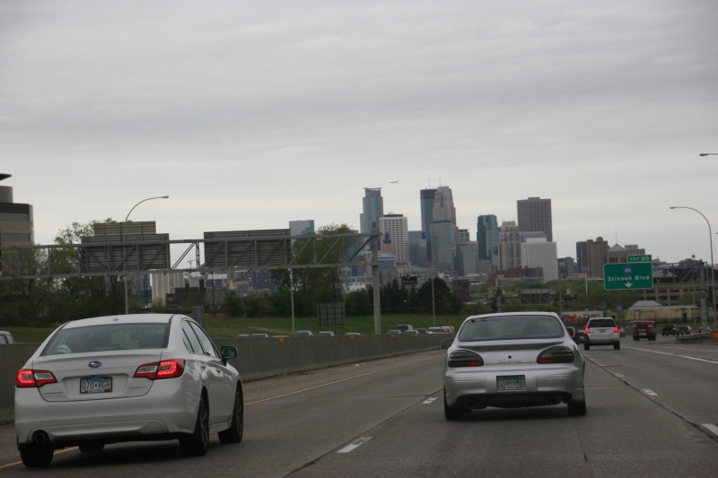Approaching downtown Minneapolis from the north.