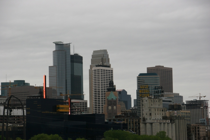 The downtown Minneapolis skyline on Mother's Day.
