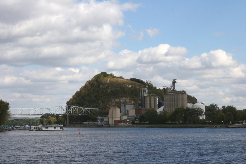 A view of Red Wing from the Bay Point Park area shows Barn Bluff and the bridge connecting Minnesota and Wisconsin.