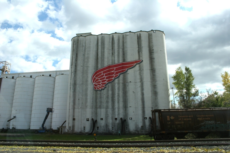 The iconic Red Wing logo graces a grain elevator.