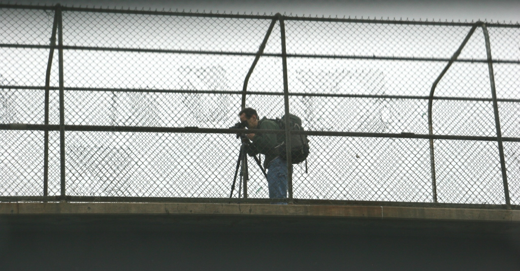 Photographing from a pedestrian overpass in Minneapolis