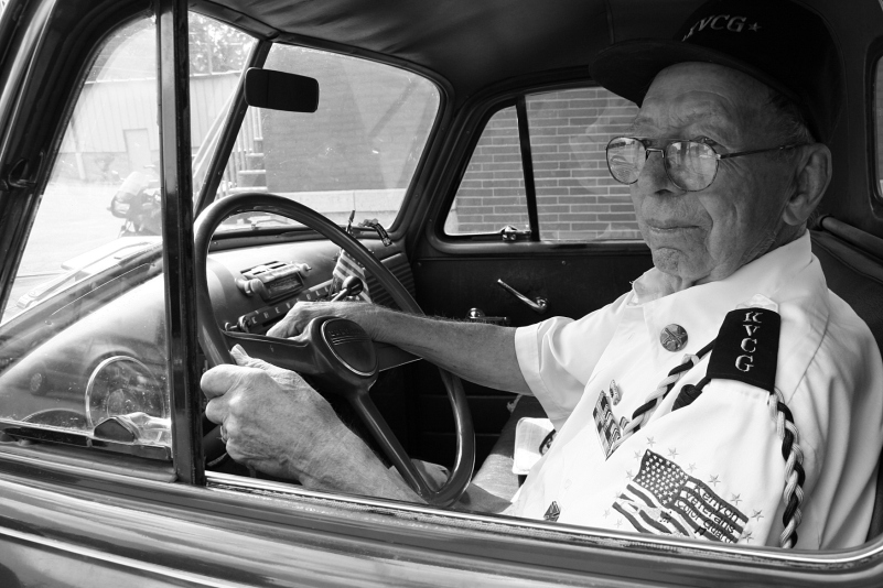 Howard Homeier in his cherished early 1950s Chevy pick-up truck.