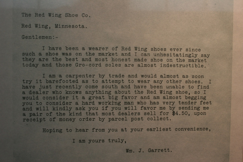 A letter is posted in the museum from a long ago customer.