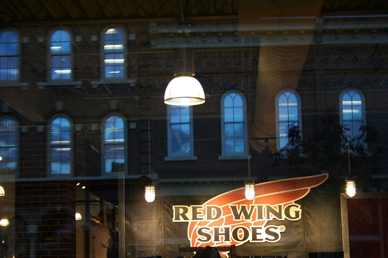 Night-time outside the Red Wing Shoe Store.