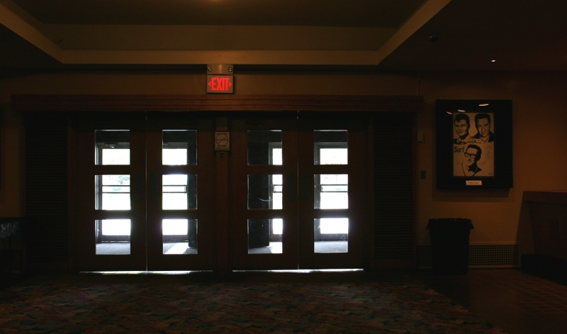 Looking toward the interior lobby doors.