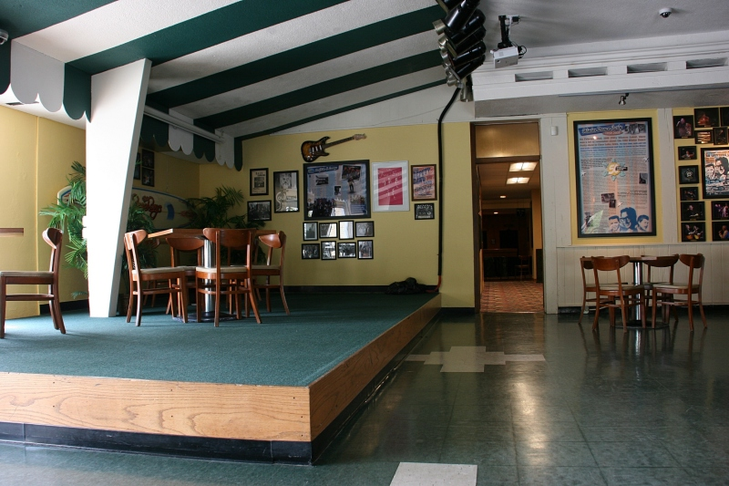 The lounge area features a stage, bar and lots more memorabilia.